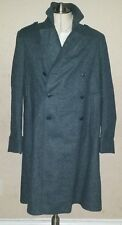 Vtg Tweed Mens Swiss Army Military Wool Green Trench Pea coat Jacket 40R Small S