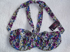 Figleaves 30D Underwired Unpadded Floral Bandeau Bikini Top Purple Mix