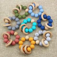 Stroller Toy Silicone Beads Beech Wood Ring Pram Rattles Baby Teething Bracelets