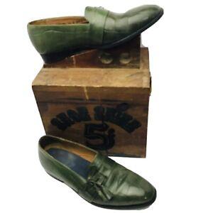 Giorgio Brutini Mens Sz 10D Gator Print Leather, Alligator Green Slip On Shoes