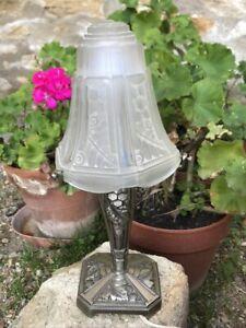 RARE BELLE LAMPE ART DECO, PIERRE MAYNADIER, TULIPE EN VERRE, PIED EN BRONZE