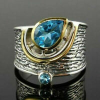 Fashion Two Tone 925 Silver Rings for Women Jewelry Aquamarine Ring Size 6-10