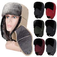 Mens Women Warm Trapper Aviator Trooper Earflap Fur Winter Ski Hat Cap With Mask