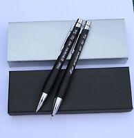 Schreibset Metall Kugelschreiber und Feinminenstift mit Persönlicher Gravur