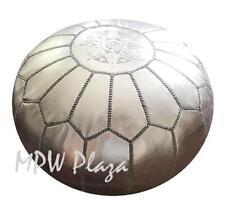 Moroccan Pouf Ottoman, Silver by MPW Plaza, Stuffed