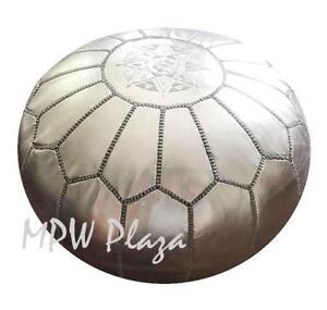 MPW Plaza Pouf, Silver, Moroccan Leather Ottoman (Un-Stuffed)