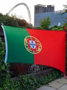 PORTUGAL FLAG LARGE 5x3ft PORTUGUESE EURO 2020 NATIONAL FAN BANNER UK SELLER.