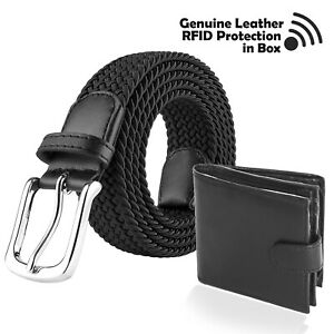 Mens Gift Set in Box Leather RFID Wallet and Stretchy Woven Belt Father's Day