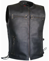Men Side Laces Club Style Motorcycle Low Collared Concealed Carry Leather Vest