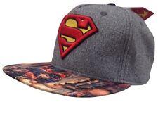 New Men's Superman DC Comics Man Of Steel Snapback Hat Baseball Cap Gray Graphic