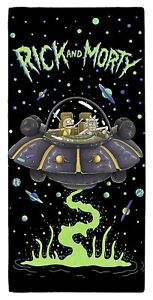 EXTRA LARGE RICK AND MORTY UFO SPACESHIP BATH TOWEL BOYS GIRLS KIDS HOLIDAY