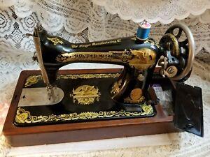Vintage Singer Sewing Machine Model 15K-30 w/Sphinx BentWood Case 1910 Scotland