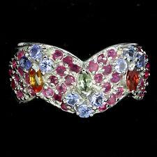 GENUINE GEM Blue Violet Tanzanite Ruby Sapphire 925 Sterling Silver BAND Ring 9
