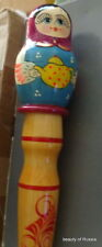 """Rare Set Of 5 Wood Russian Nesting Doll On The Top Of Pencil 11.5 """" inches"""