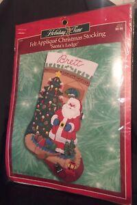 BUCILLA HOLIDAY TIME FELT APPLIQUE CHRISTMAS STOCKING KIT SANTA'S LODGE