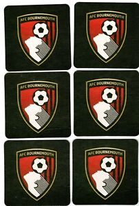 A.F.C.BOURNEMOUTH Official Crested Beer Mats / Coasters Pack of 6 FREE Post UK