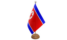 Korea North Small Table Flag with Wooden Stand