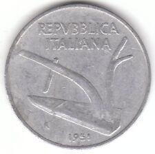 1951 ITALIA 10 LIRE IN ALLUMINIO Coin-Aratro e due orecchie di frumento