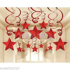 RED SHOOTING STARS FOIL SWIRL DECORATIONS (30) ~ Birthday Party Supplies Hanging