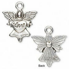 Angel Antiqued Silver Metal Love Charm Pendant Guardian 1 inch Jewelry Lot of 2