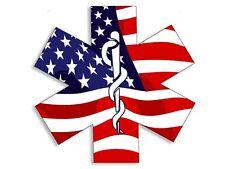 4x4 inch American Flag EMT Star of Life Sticker - decal medical ambulance logo
