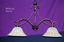 Lustre suspension cuisine salon fer forgé Balance 2 lampes