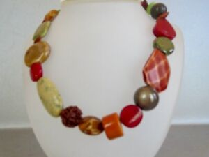 """*CHICO'S* Large & Colorful Chunky Beads NECKLACE 17"""" plus 4"""" Ext. RED & GREEN"""