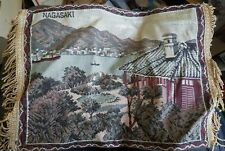 Vintage NAGASAKI Tapestry Japan 13 x 9.5 inches Embroidered Antique Woven Linen