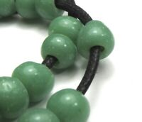 """28 RARE STUNNING OLD SMALL SEA FOAM GREEN """"PADRE"""" ANTIQUE BEADS AFRICAN TRADE"""