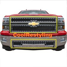 FOR 2014 15 Chevy Silverado 1500 Black Wire Mesh Rivet Grille Combo Inserts