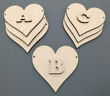 D16 1x 100mm Heart Bunting & 1x Letter Craft Shapes Blanks Laser Cut MDF Hanging