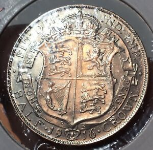 1916 GEORGE V SILVER HALF CROWN COIN, XVF, IN SEALED COIN HOLDER