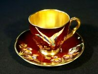 Beautiful Carlton Ware Rouge Royal, Duck Demitasse And Saucer