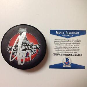 John Carlson Signed 2018 Capitals Stanley Cup Hockey Puck Beckett BAS COA c