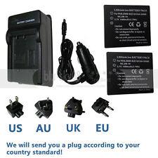 2xBattery+charger for Panasonic Lumix CGA-S008 DMC-FS3 DMC-FS5 DMC-FS20 DMC-FX30