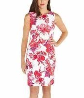 Mario Serrani Women Stretch Shift Dress Sleeveless Pink Floral 2 4 6 8 10 NWT