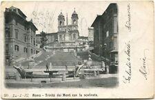1902 Roma Trinità Dei Monti Scalinata Passanti Saluti Ferrovia FP B/N VG ANIM
