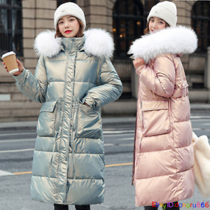 Women's Winter Parker Quilted Coat Big Faux Fur Hooded Long Ladies Outerwear