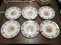 "Lot of 6 Cauldon China 10 1/4"" Aqua Souvenir Dinner plates Pink rose  H9120"