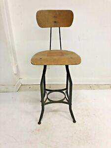 Vintage INDUSTRIAL DRAFTING STOOL metal steel bar counter chair shop wood school