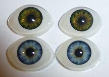2 Paar ovale Figurenaugen Iris grün und Iris blau Glöße ca. 14 X 20 mm Acryl