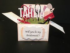 Handmade 3D Birthday Card in a box -Lady- Will you be My Bridesmaid?
