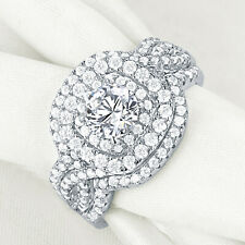 Wedding Engagement Ring 3pcs Set For Women 2.1ct Sterling Silver Round Cz Size 7