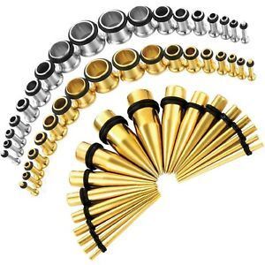 BodyJ4You 54 PCS Stainless Steel Ear Stretching Kit 14G-00G Plugs & Tapers