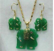 Natural Green Jade Carved Elephant Pendant 14K Gp Necklace Earrings Set Aaa j10