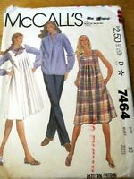 McCALL'S SEWING PATTERN NO. 7464 LADIES SHIRT, SMOCK DRESS & PANTS SIZE 10