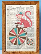 Monkey on bike dressed as human dictionary page art print vintage gift book F47