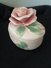 Fitz & Floyd 1987 Blushing Rose Pattern Pink Ceramic Trinket Box Euc