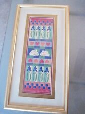 Spring Bunnies Iris Hearts Serigraph by Alice Woodrome Signed Framed Artwork