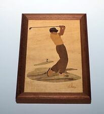 Golf  HUDSON RIVER WOOD INLAY MARQUETRY Art NELSON FRAMED Golfer